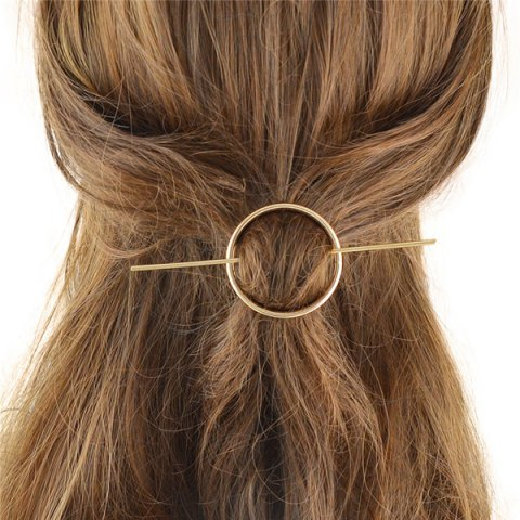 Best Retro Style Gold Plated Cut Out Big Circle Hairpin For Women - GOLDEN  Mobile