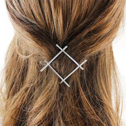 Stylish Cut Out Gold Plated Solid Color Hashtag Sign Hairpin For Women - Silver