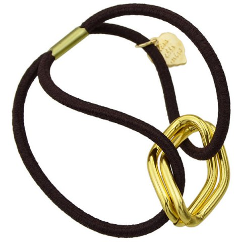 Unique Fashion Style Gold Plated Dimple Rhombus Charm Hair Band For Women - GOLDEN  Mobile
