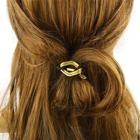 Outfits Fashion Style Gold Plated Dimple Rhombus Charm Hair Band For Women - GOLDEN  Mobile