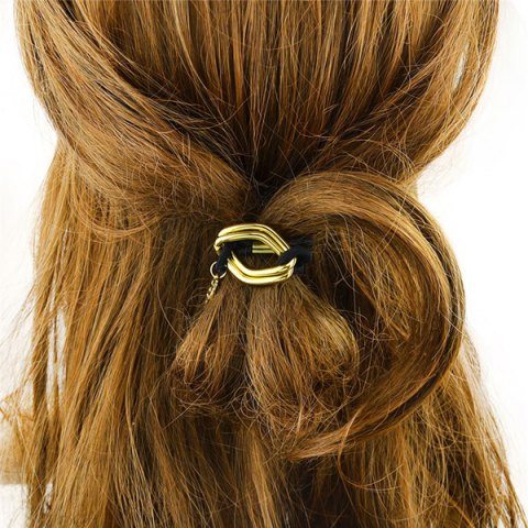 Latest Fashion Style Gold Plated Dimple Rhombus Charm Hair Band For Women GOLDEN