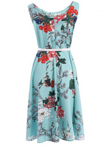 Latest Vintage Round Neck Sleeveless Floral Print Belted A-Line Dress For Women