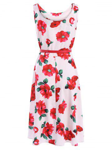 Buy Vintage Scoop Neck Sleeveless Floral Print Belted Flare Dress For Women