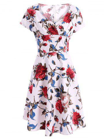 New Vintage Sweetheart Neck Short Sleeve Printed Women's Pin Up Dress