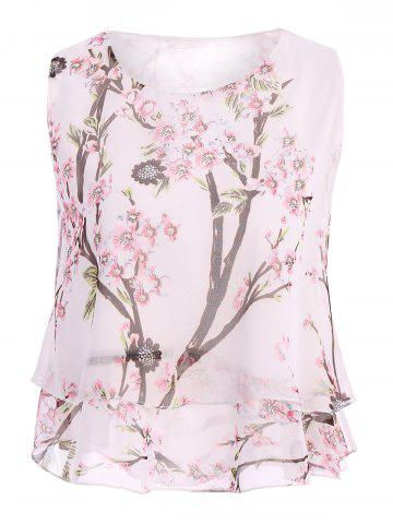 Fashion Casual Scoop Neck Peach Blossom Print Tank Top For Women
