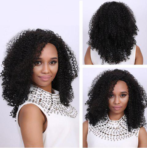 Cheap Medium Black Afro Curly Fashion Medium Synthetic Hair Wig For Women BLACK