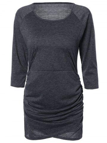 Fancy Chic Pure Color Ruched Bodycon Dress For Women DEEP GRAY S