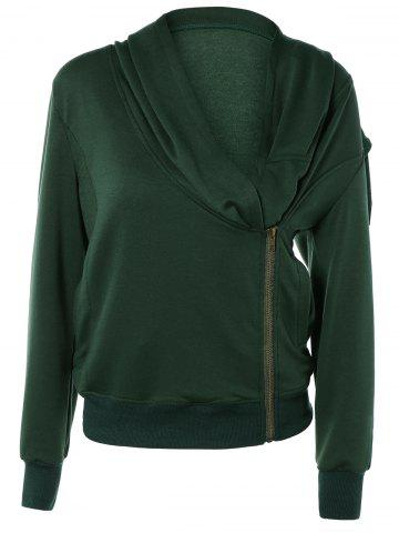 Shop Stylish Long Sleeve Front Zip Up Slant Cowl Neck Sweatshirt