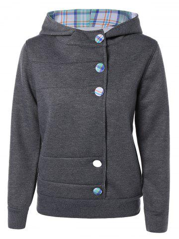 Outfits Colorful Button Pocket Hooded Coat DEEP GRAY XL