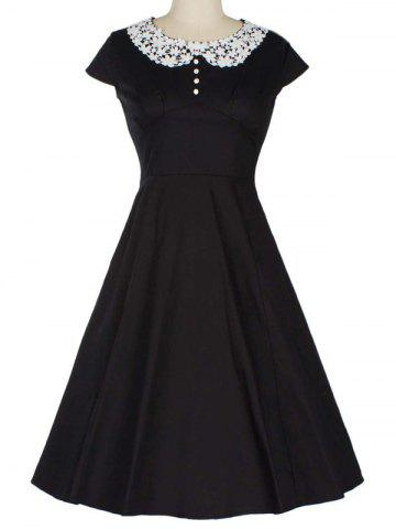 Affordable Retro Lace Spliced Faux Collar Fit and  Flare Dress BLACK 2XL