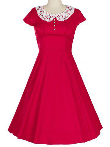 Store Retro Lace Spliced Faux Collar Fit and  Flare Dress RED S