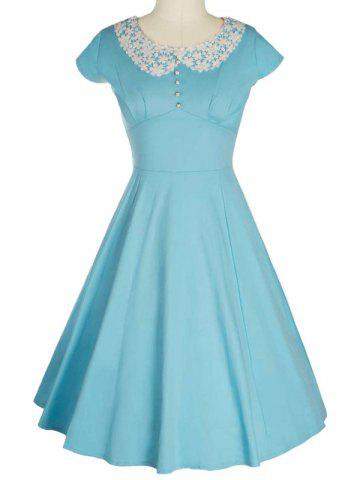 Retro Lace Spliced Faux Collar Fit and  Flare Dress - Azure - S