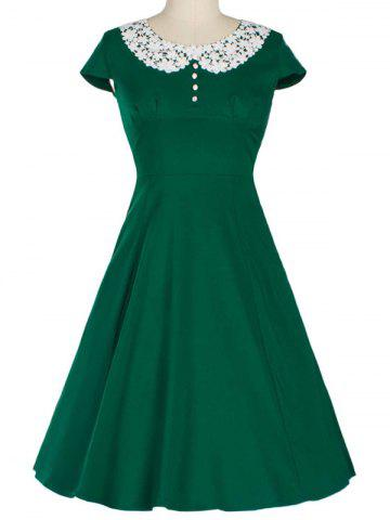 Outfits Retro Lace Spliced Faux Collar Fit and  Flare Dress GREEN XL