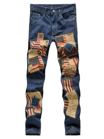 Sale Patched Zipper Fly Straight Leg Jeans For Men