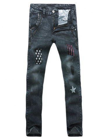 Shops Stars Striped Patch Zipper Embellished Scratched Straight Leg Jeans For Men