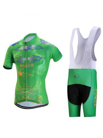 Buy Floral and Letter Print Zip-Up Stand Collar Cycling Suit ( T-Shirt + Bib Shorts ) For Men