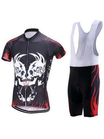Trendy Symmetrical Skull Print Zip-Up Stand Collar Cycling Suit ( T-Shirt + Bib Shorts ) For Men BLACK 3XL