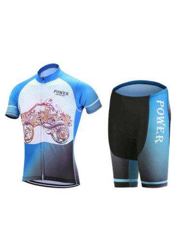 Affordable Paisley Car Print Zip-Up Stand Collar Cycling Suit ( T-Shirt + Shorts ) For Men