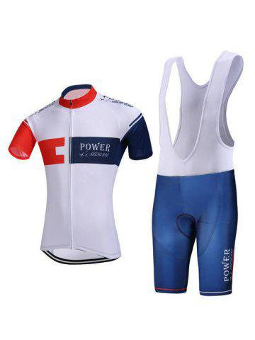Latest Color Block Spliced Letter Print Zip-Up Stand Collar Cycling Suit ( T-Shirt + Bib Shorts ) For Men