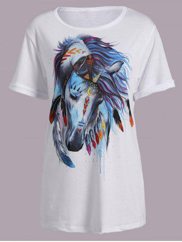 Shops Casual Short Sleeve Round Neck Horse Print Women's T-Shirt