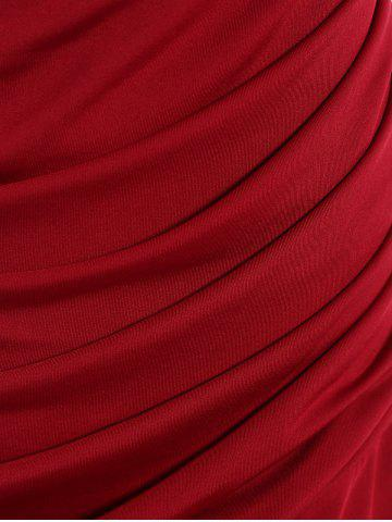Unique Cowl Neck Sleeveless Draped Jersey Formal  Dress - S WINE RED Mobile