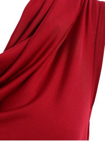 Chic Cowl Neck Sleeveless Draped Jersey Formal  Dress - S WINE RED Mobile