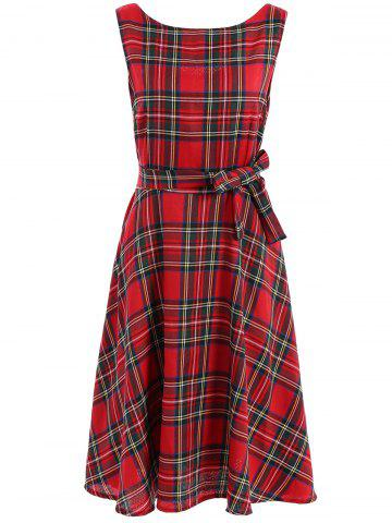 Outfit Vintage Jewel Neck Sleeveless Plaid Belted Flared Dress For Women