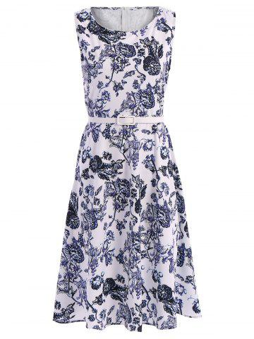 Fashion Retro Style Jewel Neck Sleeveless Floral Print Belted Flared Dress For Women