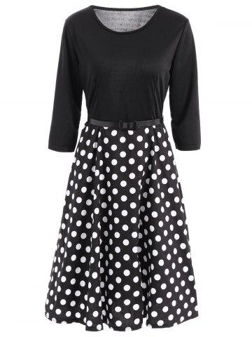 Discount Vintage Women's Belted 3/4 Sleeve Polka Dot Fit and Flare Dress