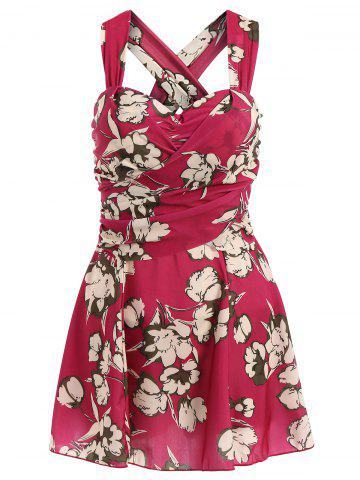 Fashion Fresh Style Draped One-Piece Floral Swimwear For Women