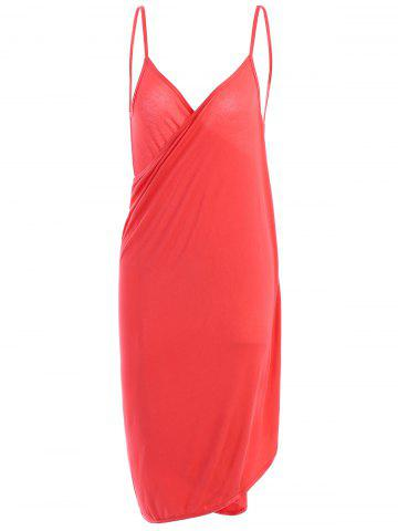 Fashion Beach Wrap Slip Dress Cover Up WATERMELON RED ONE SIZE