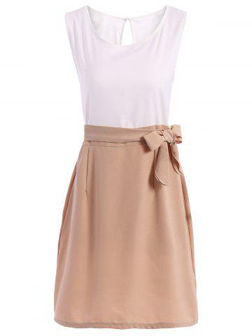 Store Office Graceful Scoop Neck Color Patchwork Dress For Women