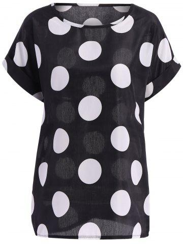 Outfit Plus Size Polka Dot Pattern Short Sleeves Tunic Blouse