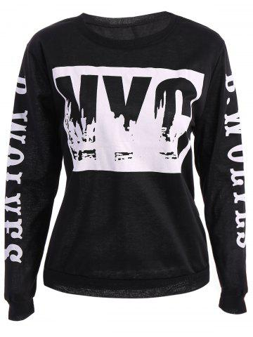 Store Street Jewel Neck Letter Print Long Sleeve Women's Sweatshirt