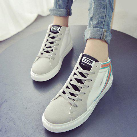 Discount Casual Mid Top and Splicing Design Sneakers For Women - 39 ORANGE Mobile