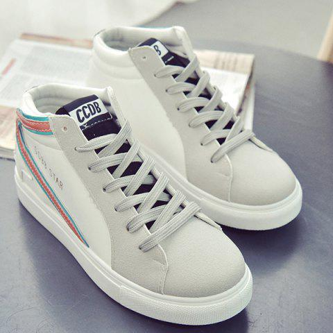 Online Casual Mid Top and Splicing Design Sneakers For Women - 39 ORANGE Mobile