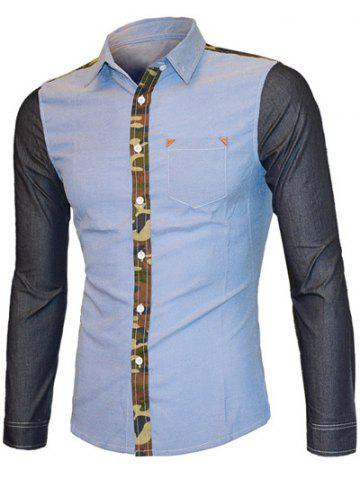 Sale Turn-down Collar Long Sleeve Camo Color Splicing Shirt For Men