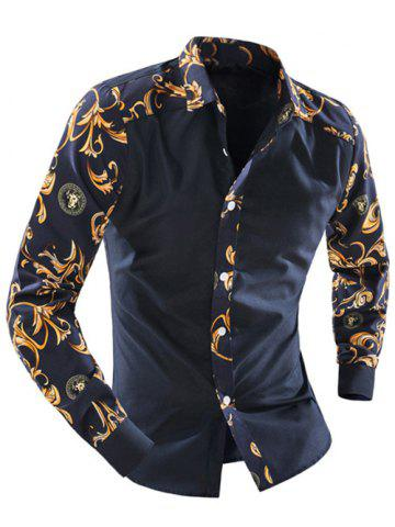 Outfits Ornate Print Splicing Turn-down Collar Long Sleeve Shirt For Men CADETBLUE 2XL