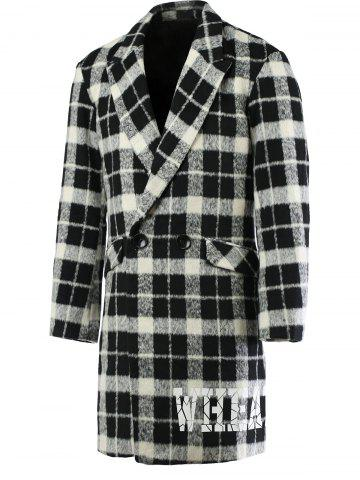 Unique Trendy Lapel Collar Black and White Checked Coat For Men