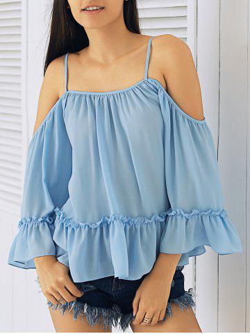 Store Ruffled Spaghetti Strap Cold Shoulder Blouse ICE BLUE XL