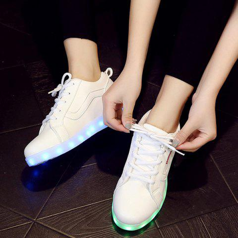 Fashion Trendy White and Lights Up Led Luminous Design Athletic Shoes For Women