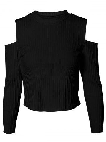 Shops Charming Cut Out Ribbed Slimming Women's Knitwear BLACK L