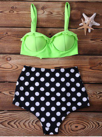 Chic High Waisted Spaghetti Strap Polka Dot Print Two-piece Swimsuit For Women - M NEON GREEN Mobile