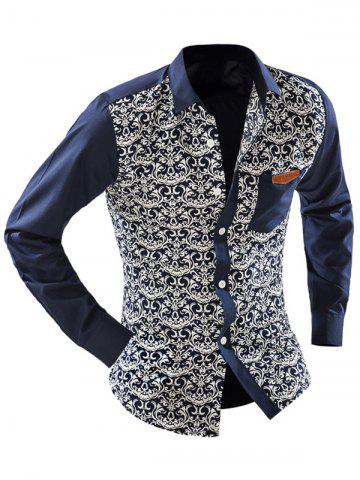Chic Ornate Print Pocket Front Long Sleeve Shirt For Men - 2XL OFF-WHITE Mobile