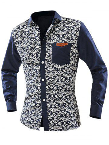 Unique Ornate Print Pocket Front Long Sleeve Shirt For Men - 2XL OFF-WHITE Mobile