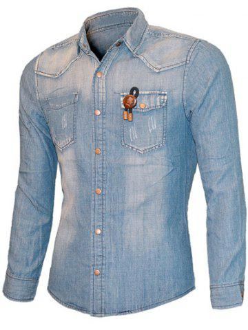 Outfits Scratched Pockets Front Long Sleeve Light Denim Shirt