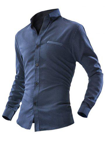 Polka Dot Double Welt Breast Pocket Long Sleeve Button-Down Shirt For Men - CADETBLUE 2XL