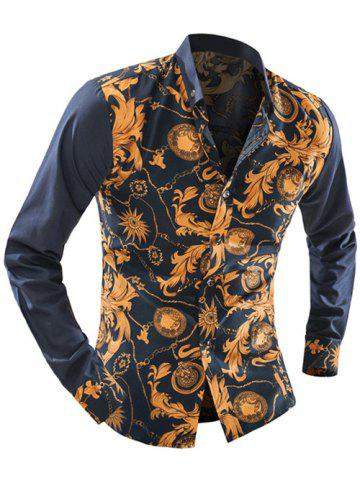 Affordable Ornate Print Long Sleeve Button-Down Shirt For Men - 2XL YELLOW Mobile