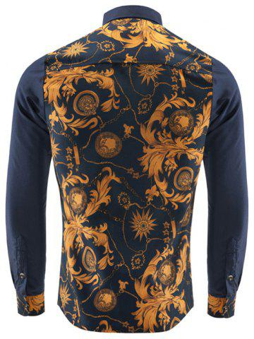 Best Ornate Print Long Sleeve Button-Down Shirt For Men - 2XL YELLOW Mobile