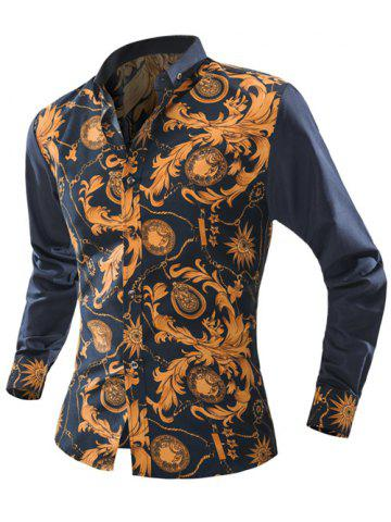 New Ornate Print Long Sleeve Button-Down Shirt For Men - 2XL YELLOW Mobile